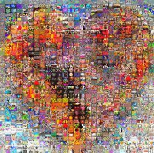 Coeur en mosaique d'images.
