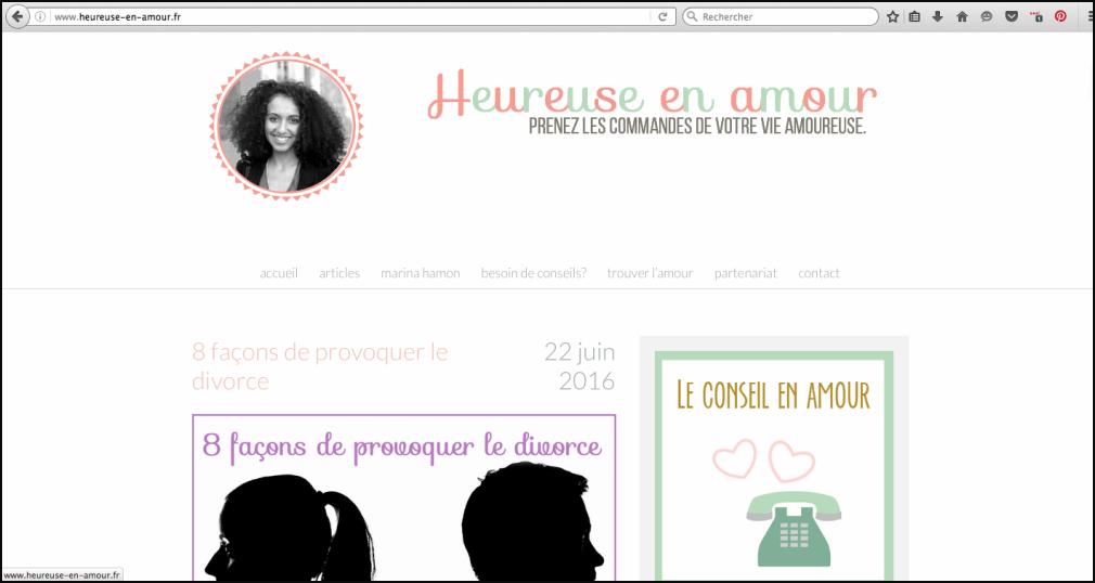 Capture d'écran de l'ancien design du blog Heureuse en amour